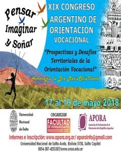 Flyer XIX CONGRESO ARGENTINO DE ORIENTACIÓN VOCACIONAL